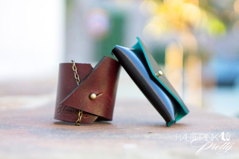 HAUSKRFT 1 of 1 Leather Cuff & genuine Italian patent leather envelope style business card holder