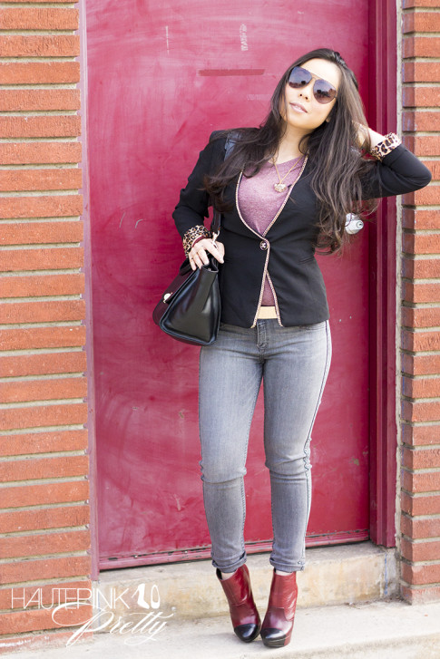 www.HautePinkPretty.com - An Dyer wearing Celine Aviators SC1489, ShopPublik Leather Accents Heathered Top, Lulus Metal Girl Like You Chain-Trimmed Black Blazer, ASOS Plate And Spike Detail waist Belt, Cuore & Pelle Caterina Trapeze Bag, Bleulab French Chalk Reversible Jeans, Jessica Simpson Essas Boot in Burgundy Belluci, Louis Vuitton Transparent Monogram Inclusion Translucide Pendant Necklace, Glint & Gleam Oxblood Three Cross Vegan Leather Bracelet & Triple Bar Double Finger Ring Set