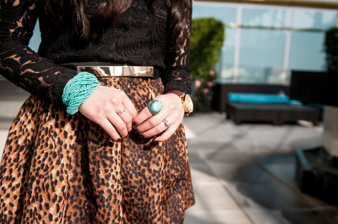 www.HautePinkPretty.com - An Dyer wearing Dress Up Boutique, A'Muse Me Boutique, Zara Leopard Skirt, Lace Top, ShoeMint Abi Boots