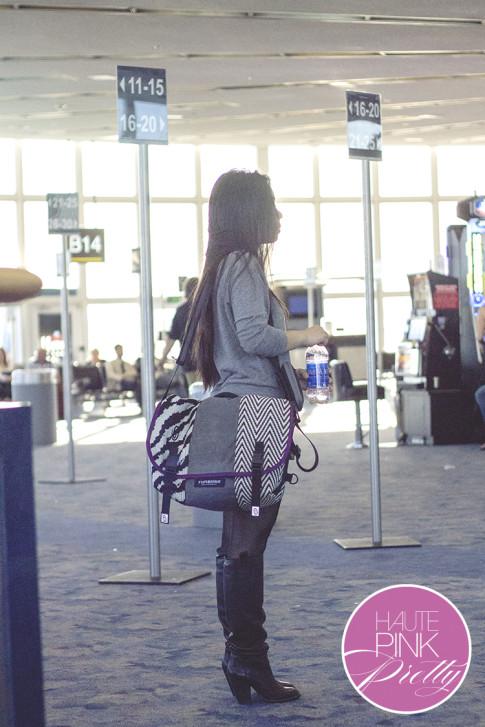 An Dyer wearing Timbuk2 Custom Messenger Laptop Bag, Sole Society Rumer Boots 2