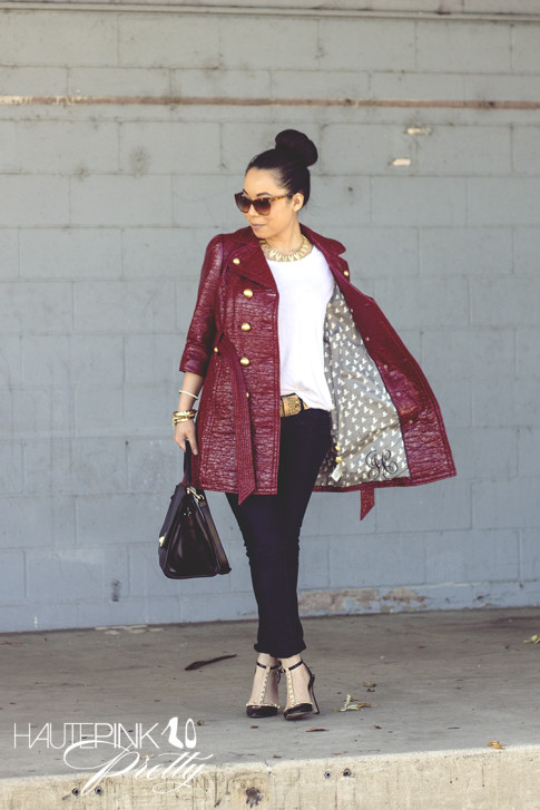 An Dyer wearing Juicy Couture Well Coiffed Belted Trench Coat, Michael Stars Tee, Bleulab Jeans, Elizabeth & James Lafayette Sunglasses, Cuore & Pelle Caterina Trapeze Bag, Sole Society Margie pumps 2