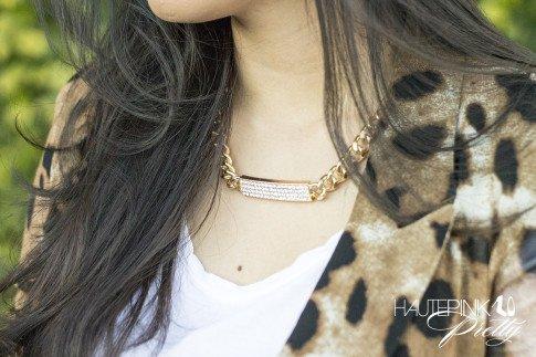 An Dyer wearing Leopard Mesh Blazer, Glint & Gleam Shining Identity Necklace ShopLately