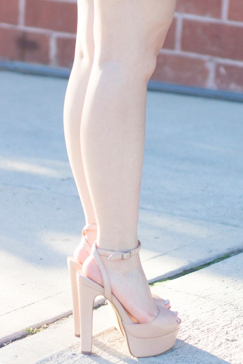 An Dyer wearing ShoeMint Bianca Nude Platform Sandals 2