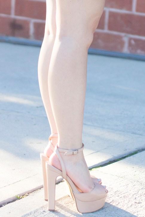 An Dyer wearing ShoeMint Bianca Nude Platform Sandals 2
