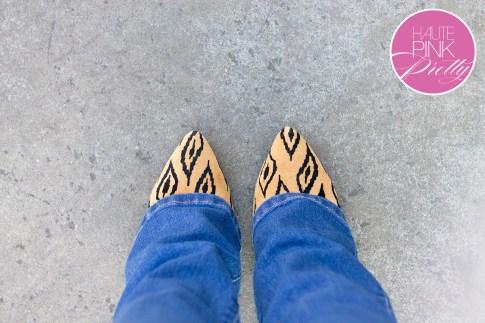 An Dyer wearing  YMI Want a Better Booty Boot Cut Jeans, Sole Society Fergie Tribal Leopard