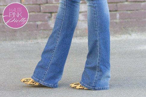An Dyer wearing  YMI Want a Better Booty Boot Cut Jeans,Sole Society Fergie Tribal Leopard