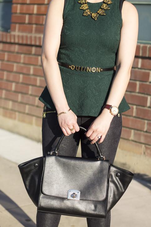 An Dyer wearing Zara Emerald Brocade Peplum Top, Snake Print Suede Pants, Cuore & Pelle Caterina Bag, Vivienne Kelly Khloe Necklace, Asos Oui Non Skinny Waist Belt