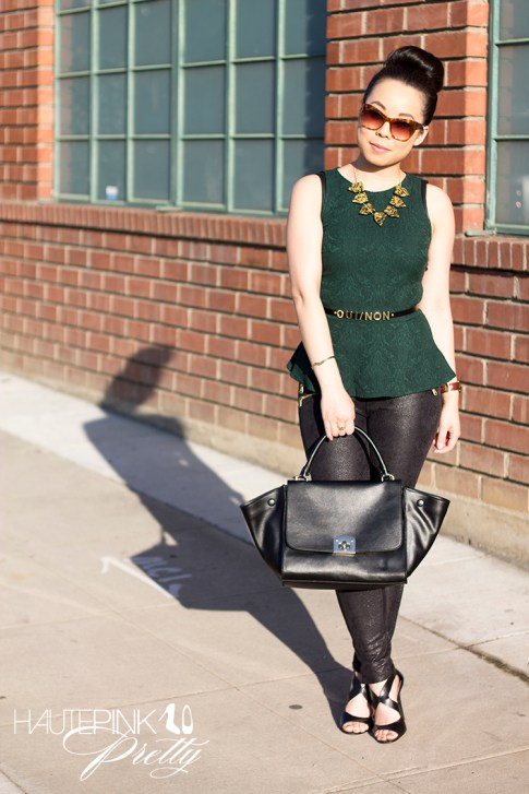 An Dyer wearing Zara Emerald Brocade Peplum Top, Snake Print Suede Pants, Cuore & Pelle Caterina Bag, Vivienne Kelly Khloe Necklace, Elizabeth & James Lafayette Sunglasses, Asos Oui Non Skinny Waist Belt