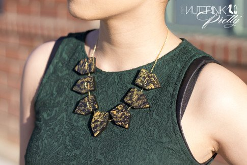 An Dyer wearing Zara Emerald Brocade Peplum Top, Vivienne Kelly Khloe Necklace