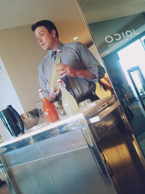 Joico's TURNHEADS Event at the SLS Hotel - Nick showing us how to make Frozen Cocktails