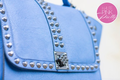 Melie Bianco Villette Blue F3190 Vegan Leather Handbag Closure Lock Detail on HautePinkPretty