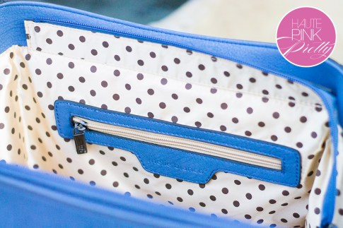 Melie Bianco Villette Blue F3190 Vegan Leather Handbag Polka Dot Interior Lining Detail on HautePinkPretty