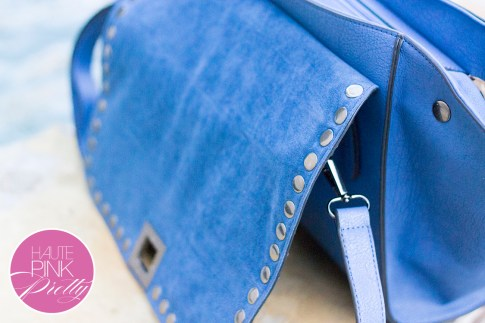 Melie Bianco Villette Blue F3190 Vegan Leather  Handbag inside faux suede flap detail on HautePinkPretty