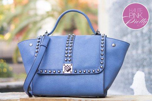 Melie Bianco Villette Blue F3190 Vegan Leather Handbag with cross body shoulder strap on HautePinkPretty