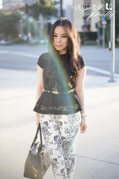 An Dyer rainbow lens flare wearing Fidelity Denim Batista Black White Floral Pint Skinny Jeans, BCBGeneration DIY Affirmation Bracelets as Belt, TopShop Crochet Peplum top, THEIT Studded Bossi Bag