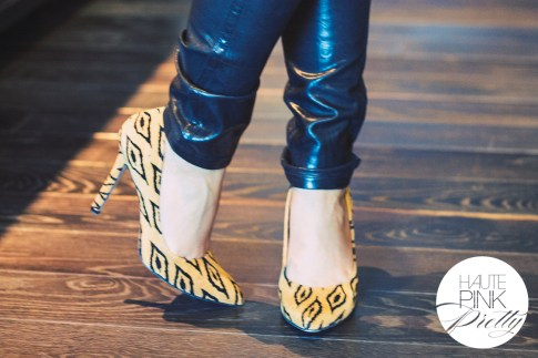 An Dyer wearing Bleulab Coated Black reversible jeans, SoleSociety Fergie Tribal Leopard