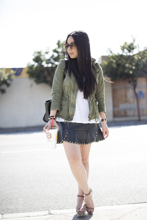 An Dyer wearing ShoeMint Emese Flatforms, Zara Army Anorack, BesoBeso by Luka Bracelets, Elizabeth & James Lafayette Sunglasses