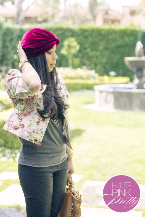 An Dyer wearing Tulle Floral Jacket, Kristin Perry Oxblood Velvet Full Turban Headpiece ShopLately & Chaser Brand Tee