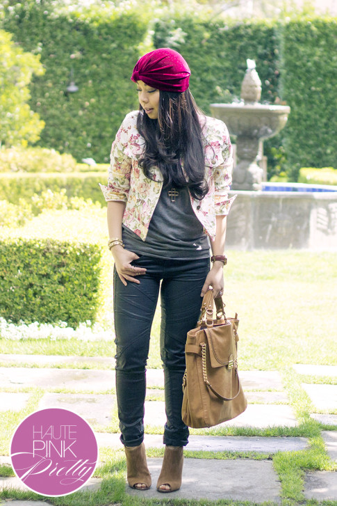 An Dyer wearing Tulle Floral Jacket, Kristin Perry Oxblood Velvet Full Turban Headpiece ShopLately, Olivia & Joy Camel Controversy Tote, Julianne Hough Sole Society Angela Peeptoe Booties, Chaser Brand Tee