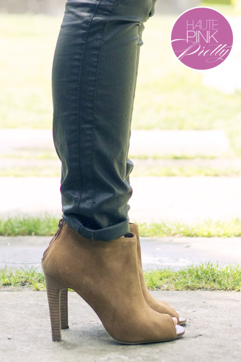 An Dyer wearing Zara Coated Pants & Julianne Hough Sole Society Angela Peeptoe Booties
