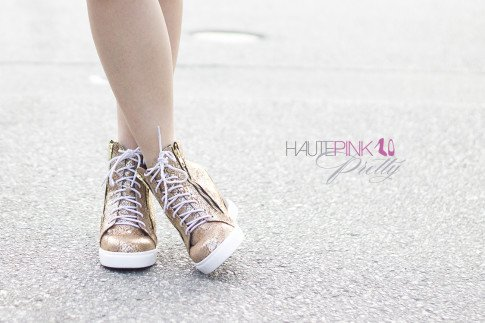 An Dyer wearing rubyandjenna Snake Print Wedge Sneakers