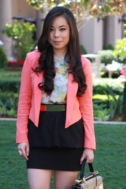 Bebe Girls Who Lunch - An Dyer wearing Bebe Debbie Crepe Crop Blazer, Ainsley Galloping Horse Blouse, BCBG Maxazria Andrea Satchel, TopShop Pearl Collar Necklace, ASOS Spike & Plate Belt, Zara Peplum Skirt