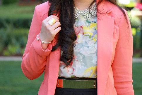 Bebe Girls Who Lunch - An Dyer wearing Bebe Debbie Crepe Crop Blazer, Ainsley Galloping Horse Blouse, Glint & Gleam Bracelet ShopLately, Chic Peek Ring, Pear Collar Necklace, ASOS Spike & Plate Belt