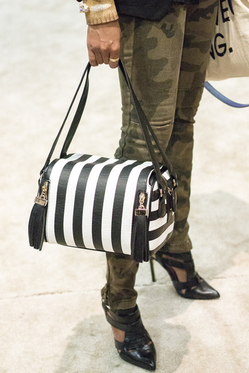 roadtoMAGIC Melie Bianco Black & White Striped Box Bag