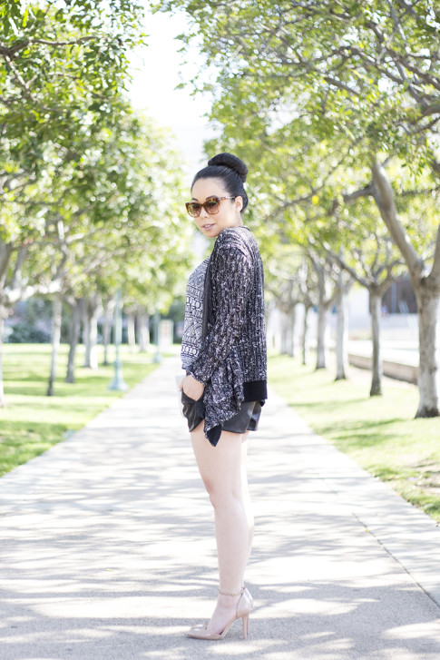 An Dyer Wearing LCt & Lucca Couture, Sole Society Giselle, Elizabeth & James Lafayette, Zara Faux Leather Track Shorts