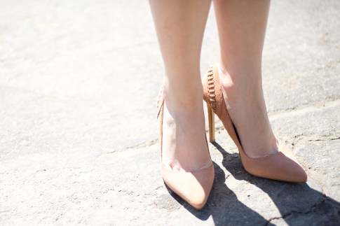 An Dyer wearing ShoeMint Lulu Nude Suede Pumps