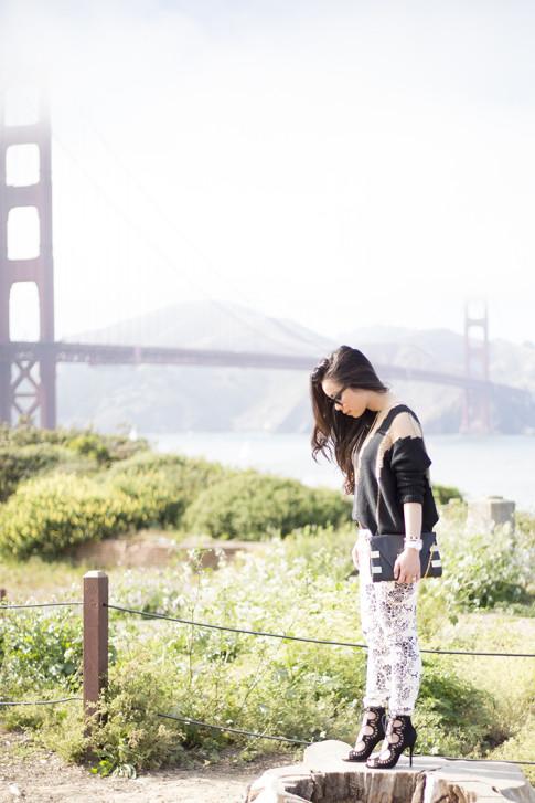 An Dyer wearing Fidelity Denim White Floral Jeans, ShoeMint Romy, ASOS Cross Belt, Rehab Black Sheer Mesh Sweater, Golden Gate Bridge, Fort Point, San Francisco