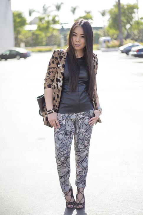 An Dyer wearing Leopard Blazer, ShoeMint Romy, Bailey 44 Leather Tee Shirt, Sydney Evans Necklace, Cuore & Pelle Caterina Trapeze Bag. jpg