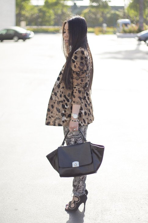 An Dyer wearing Leopard Blazer, ShoeMint Romy, Cuore & Pelle Caterina Trapeze Bag. jpg