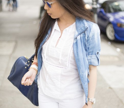 An Dyer wearing True Religion Jeans, Michael Stars  Blouson Hem Peasant Top, StyleMint Manor Tie Dye Denim Jacket, SoleSociety Kaylin Navy Bag, Blue Mirrored Sunglasses