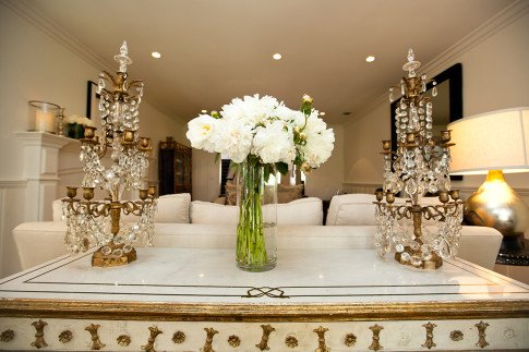 Bailey 44 Brunch Interior Decor, Ivory Creme Gold Peonies Crystal Chandelier Lamps