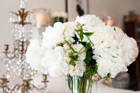 Bailey 44 Brunch Interior Decor White Peonies and Crystal Chandelier