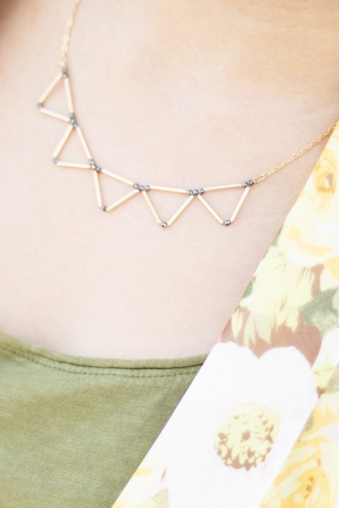 An Dyer wearing Mason Grace Triangle Collar Necklace