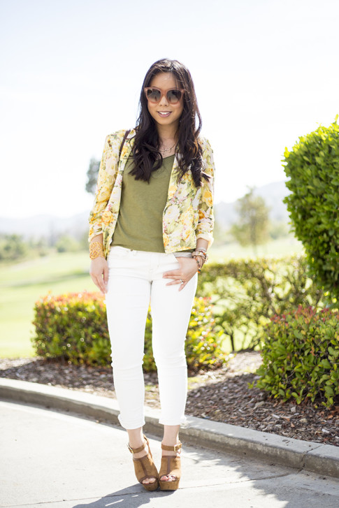 An Dyer wearing Wine and Dine Blazer Lovers+Friends, Rich & Skinny The Skinny Crop in Mental, Sole Society Daniella, Alexis Bittar Cuff, Celine Paris Audrey Sunglasses