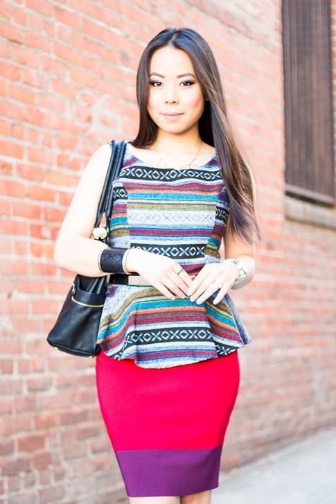 An Dyer Wearing Olivia Joy Swanky Satchel, Vintage Havana Tribal Peplum Tank, JewelMint Cobra Cuff, Metal Plate Belt, Express Colorblock Pencil Bodycon Skirt