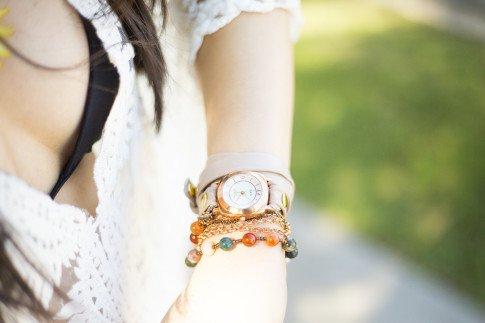 An Dyer wearing Brazil Stone Watch La Mer Collections