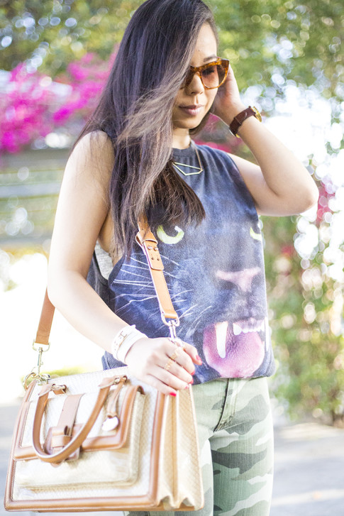 An Dyer wearing Forever 21 Jaguar Tank, Elizabeth & James Lafayette Sunglasses, Shifting Shape Necklace ShopLately, Brahmin Atelier Brookline Satchel, CJ by Cookie Johnson Camo Jeans