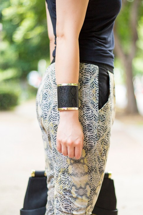 An Dyer wearing JewelMint Cobra Cuff and Evleo Baggy Snakeprint Leggings