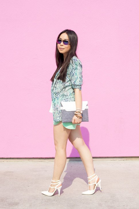 An Dyer wearing Lovers+Friends x Stylyt Bombshell Blazer, Vintage Havana Nautical Anchor Top, Allison Collection Silk Shorts, ShoeDazzle White Sahara Studded Pumps, George Gina Lucy Purple Mirrored Sunglasses