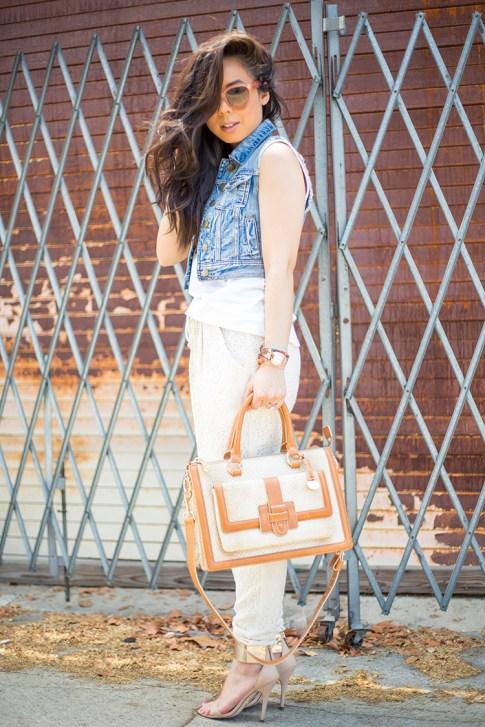 An Dyer wearing Piper Gore Clementine Lace Pant, Celine Paris Audrey Pink,  Bebe Jacqueline Sandals, Brahmin Atelier Brookline Satchel, Forever 21 Distressed Denim Vest