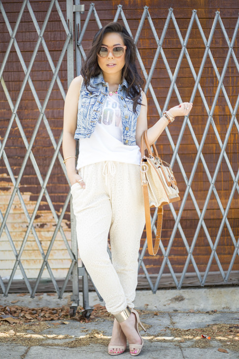 An Dyer wearing Piper Gore Clementine Lace Pant, Celine Paris Audrey Pink, Lovers & Friends California Grown Tank, Bebe Jacqueline Sandals, Brahmin Atelier Brookline Satchel, Forever 21 Distressed CroDenim Vest