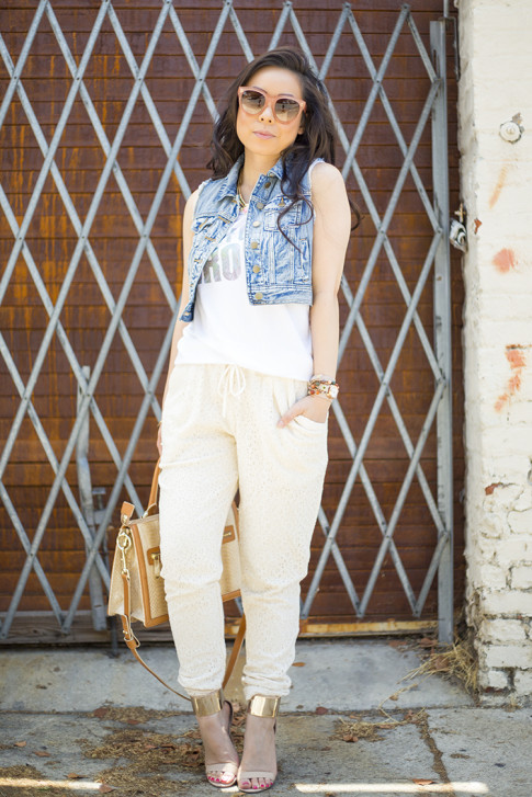 An Dyer wearing Piper Gore Clementine Lace Pant, Celine Paris Audrey Pink, Lovers  Friends California Grown Tank, Bebe Jacqueline Sandals, Brahmin Atelier Brookline Satchel, Forever 21 Distressed Denim Vest