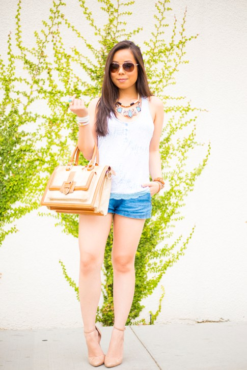 An Dyer wearing Sole Society Giselle Nude Pumps, Brahmin Atelier Brookline Satchel, Zara Chambray Denim Shorts, Foster Grant Aviator Sunglasses, Honeydew Intimates Diamondback Cami, La Mer Collections Watch, Gl