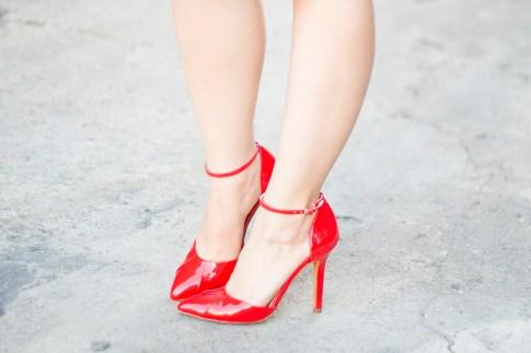 An Dyer wearing Sole Society Julianne Hough Giselle in Red Cardinal