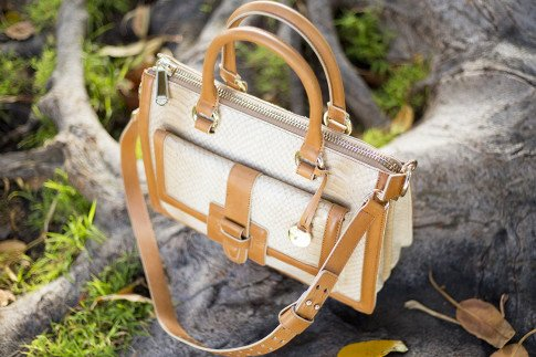 Brahmin Atelier Brookline Satchel Taupe - top down