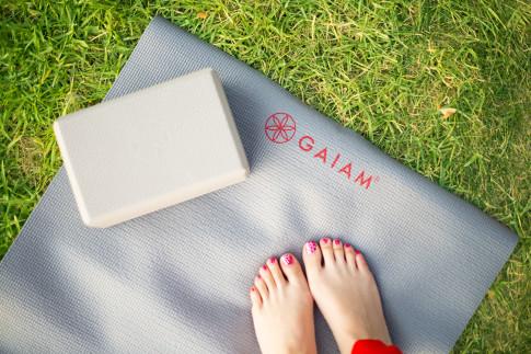 Gaiam Zen Garden Print Yoga Mat & Flower of Life Embossed Yoga Block